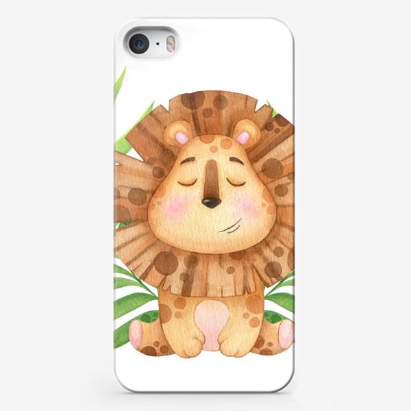 Чехол iPhone «Милый лев, акварельная иллюстрация»