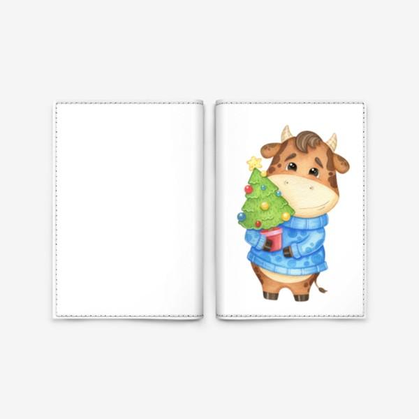 Обложка для паспорта «Акварельный бык с ёлкой, милый новогодний принт»