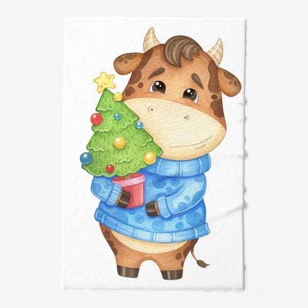 Полотенце «Акварельный бык с ёлкой, милый новогодний принт»