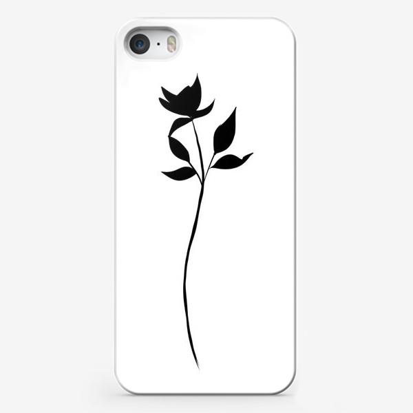Чехол iPhone «Цветок черно-белый»