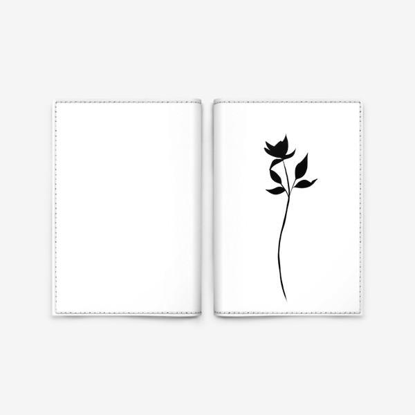 Обложка для паспорта «Цветок черно-белый»
