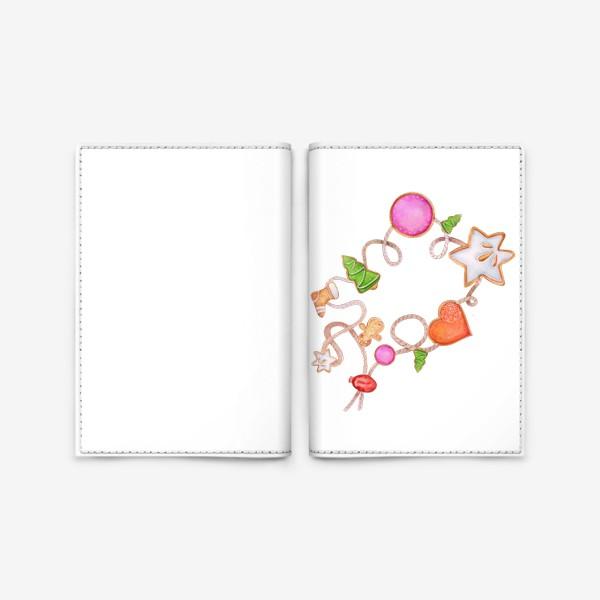 Обложка для паспорта «Christmas decoration. Bracelet with gingerbread men and cookies.»