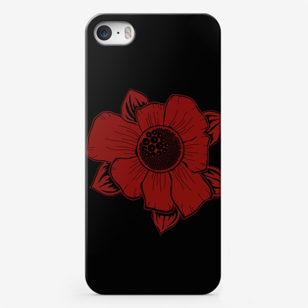 Чехол iPhone «красный цветок ириса на черном»