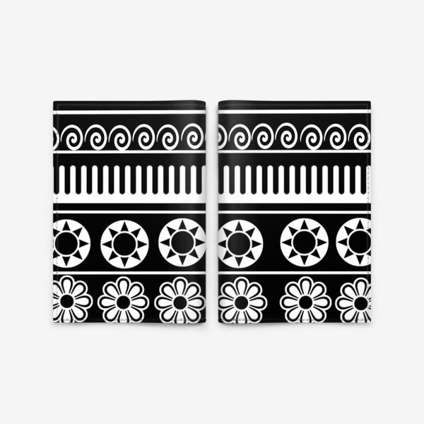 Обложка для паспорта «Черно-белые узоры, этника»