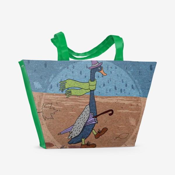 Пляжная сумка «Гусь в шляпе с зонтиком. Крафт тема.»