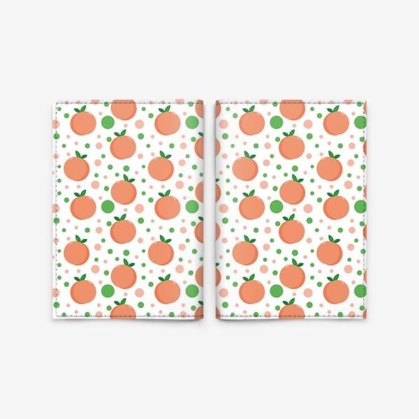 Обложка для паспорта «персики. нежный летний фруктовый паттерн»