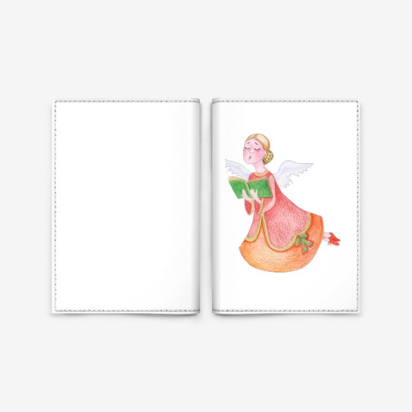 Обложка для паспорта «Bright Christmas Angel sings psalms. Watercolor isolated illustration on a white background.»