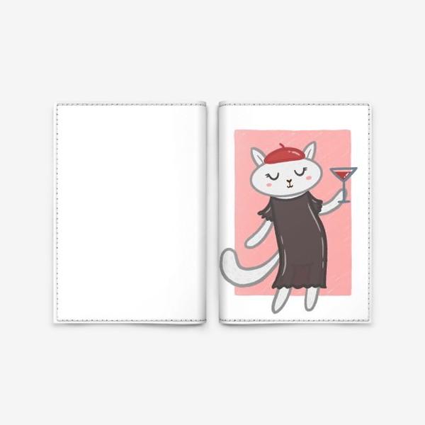 Обложка для паспорта «Элегантная белая кошка с коктейлем»