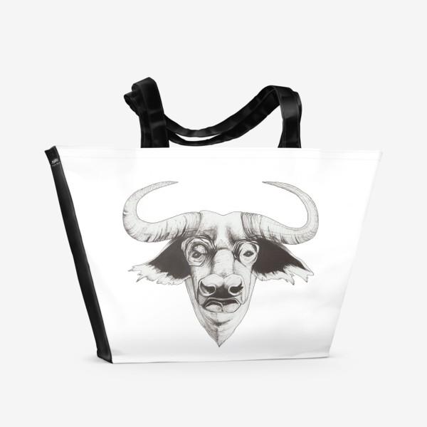 Пляжная сумка «Бык смотрит»