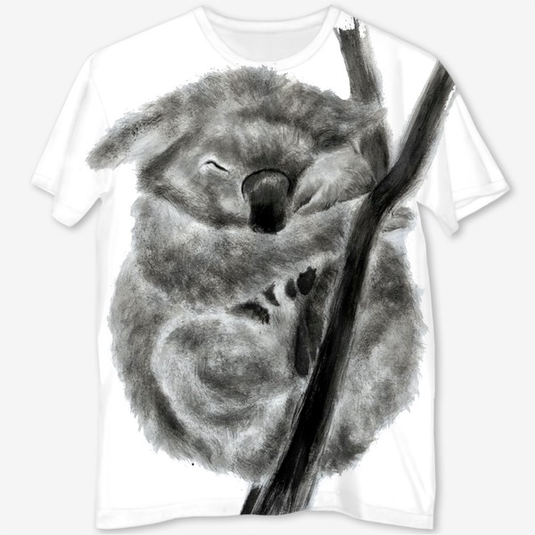 Футболка с полной запечаткой «коала спит на ветке»