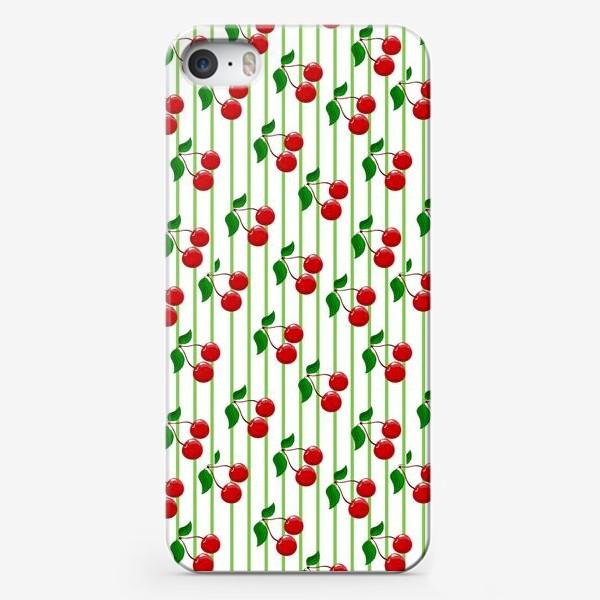 Чехол iPhone «Красные вишни с полосками и зелеными листьями.»
