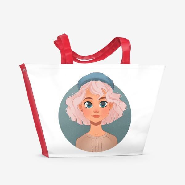 Пляжная сумка «Девушка мультяшный »