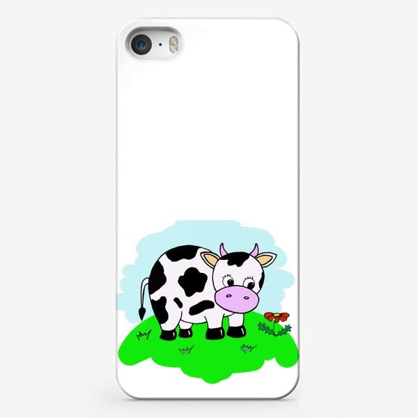 Чехол iPhone «Корова на лугу»