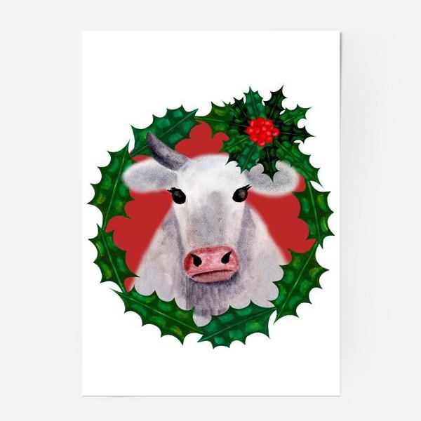 Постер «Новогодняя бурёнка Аленка в венке из остролиста»