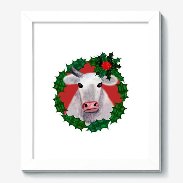 Картина «Новогодняя бурёнка Аленка в венке из остролиста»