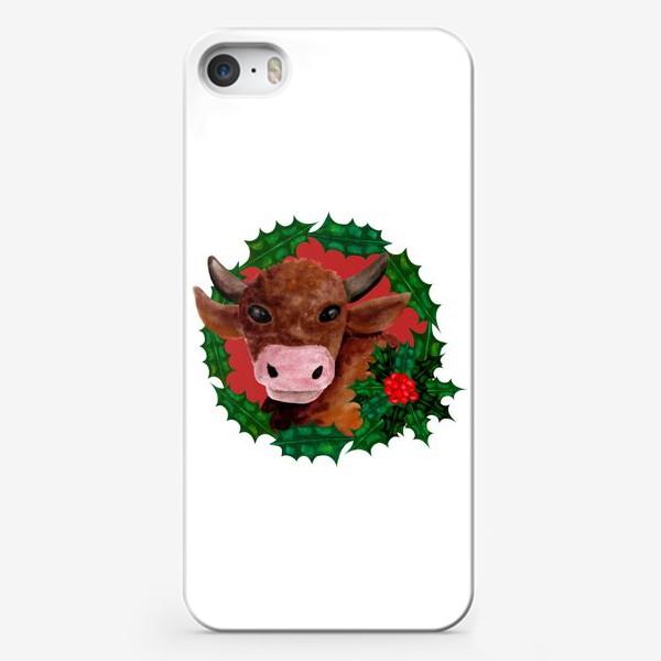 Чехол iPhone «Новогодний бык в венке из остролиста»