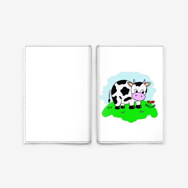 Обложка для паспорта «Корова на лугу»