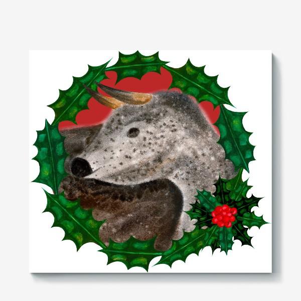 Холст «Пятнистый новогодний бык в венке из остролиста»
