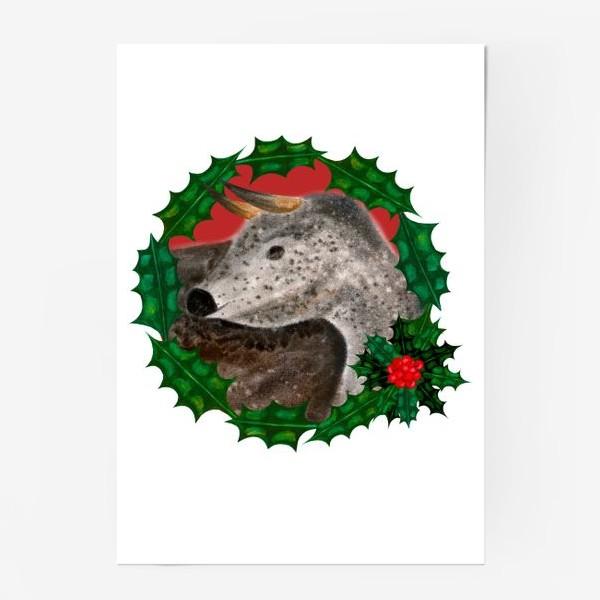 Постер «Пятнистый новогодний бык в венке из остролиста»