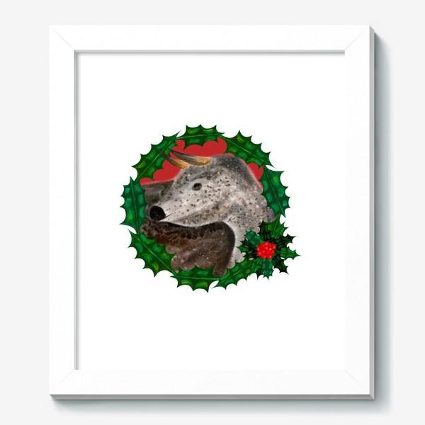 Картина «Пятнистый новогодний бык в венке из остролиста»