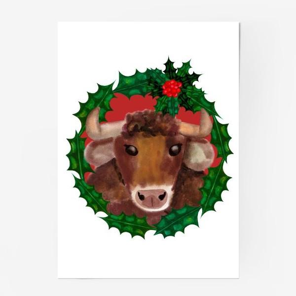 Постер «Новогодний бык в венке из остролиста»