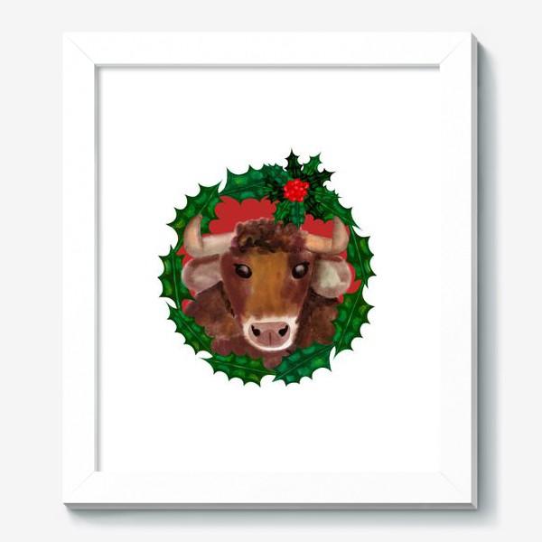 Картина «Новогодний бык в венке из остролиста»
