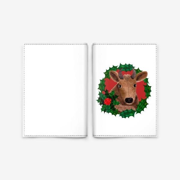 Обложка для паспорта «Новогодняя бурёнка в венке из остролиста»
