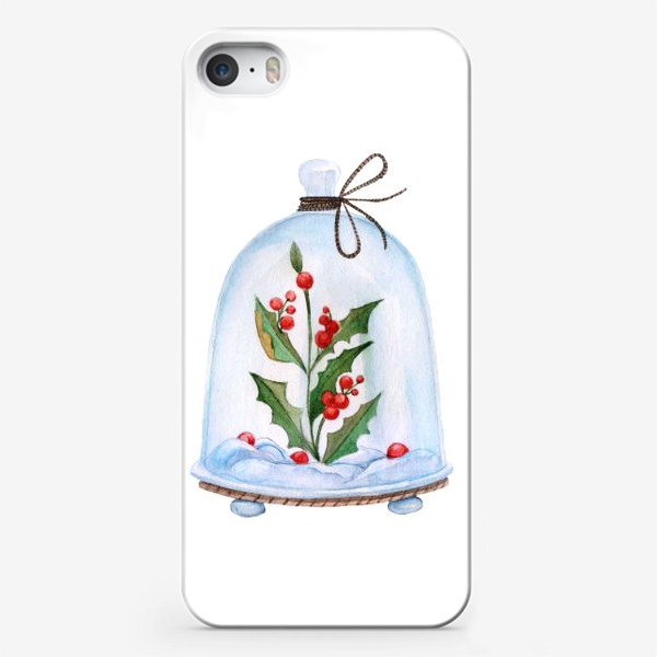 Чехол iPhone «Christmas decoration holly under a glass dome. Watercolor illustration.»