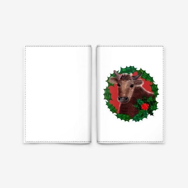 Обложка для паспорта «Новогодний бык Гриша в венке из остролиста»