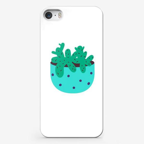 Чехол iPhone «Милый кактус в голубом горшке в горошек»