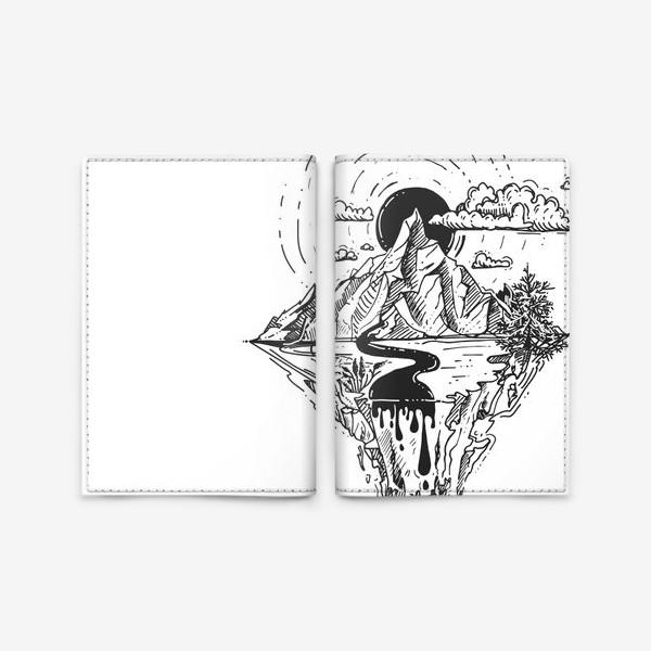 Обложка для паспорта «горы и река. скалы. солнце и облака»