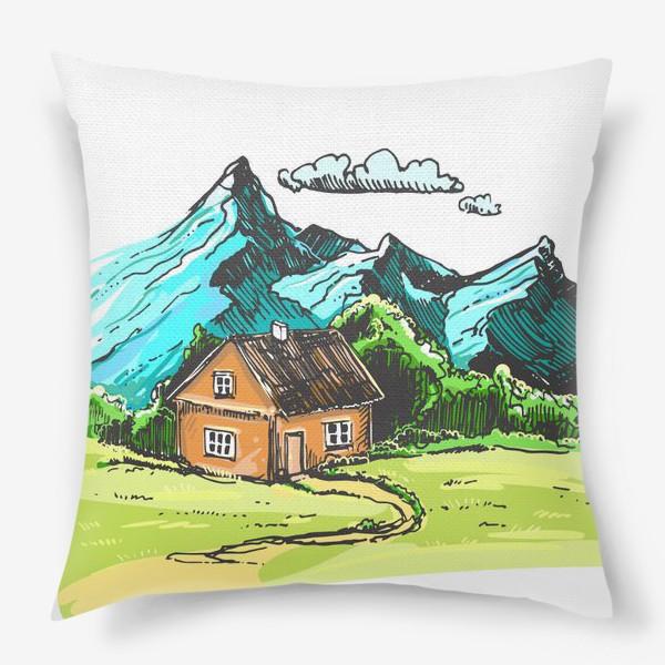 Подушка «домик в горах на зеленой поляне.»