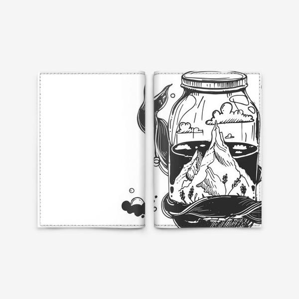 Обложка для паспорта «горы в стеклянной банке. облака. графика»