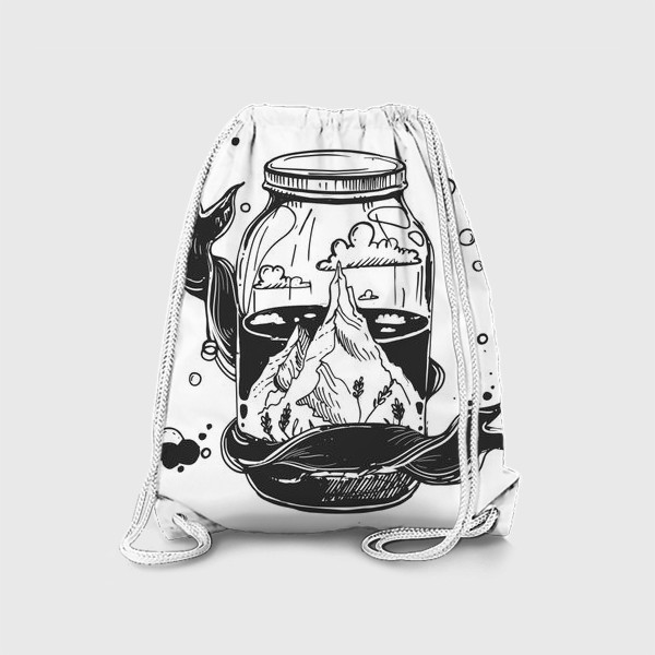Рюкзак «горы в стеклянной банке. облака. графика»