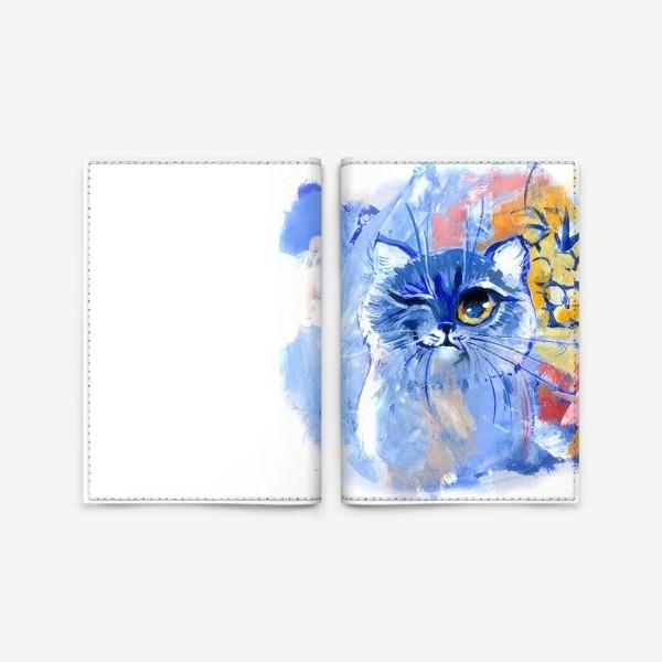 Обложка для паспорта «Портрет кота, живопись»
