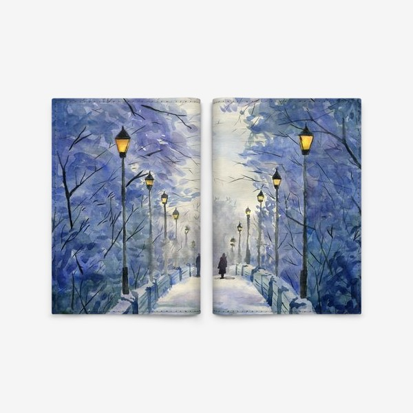 Обложка для паспорта «зимний мост»