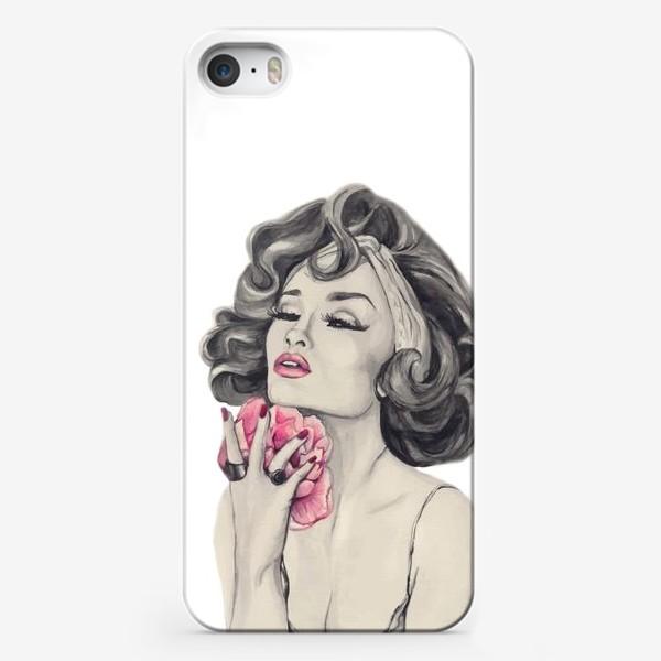 Чехол iPhone «Девушка с пионом»