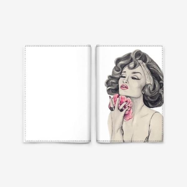 Обложка для паспорта «Девушка с пионом»