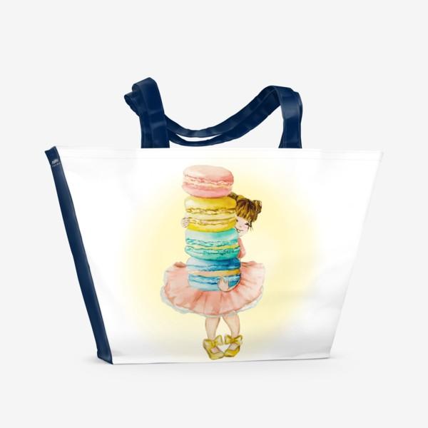 Пляжная сумка «Девочка с макарун»