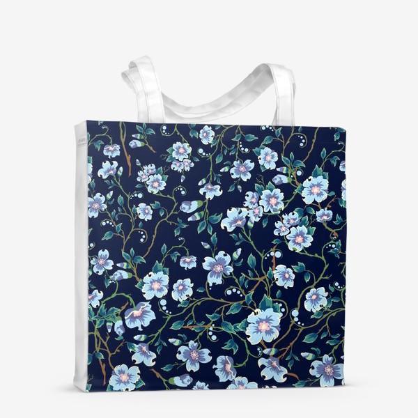 Сумка-шоппер «Паттерн. Голубые цветочки на темном фоне. »