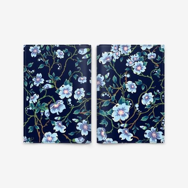Обложка для паспорта «Паттерн. Голубые цветочки на темном фоне. »