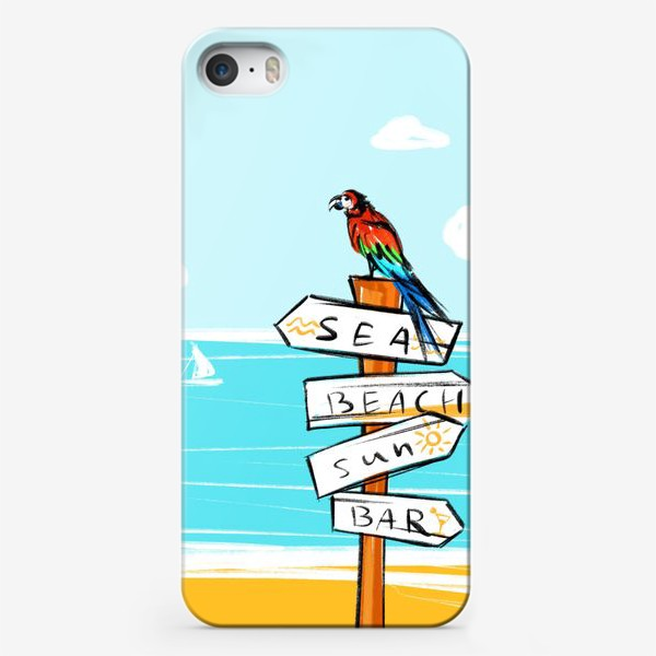 Чехол iPhone «Попугай на пляже»