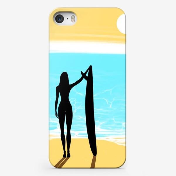 Чехол iPhone «Девушка с доской для сёрфинга на пляже»