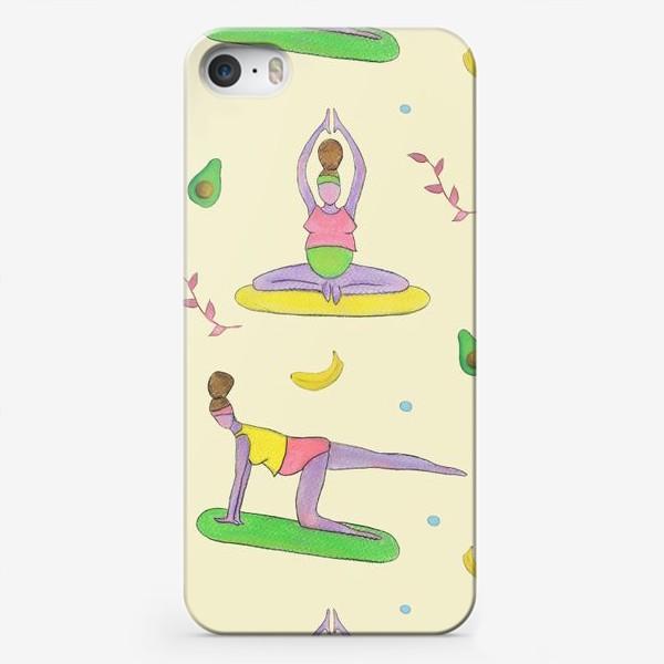 Чехол iPhone «Йога для беременных. Беременяшки. Полезный фитнес. Авокадо и банан»