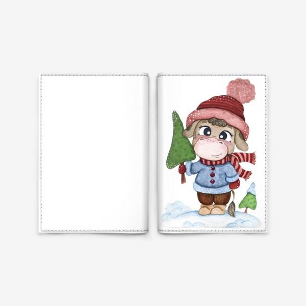 Обложка для паспорта «Бычок с елочкой»