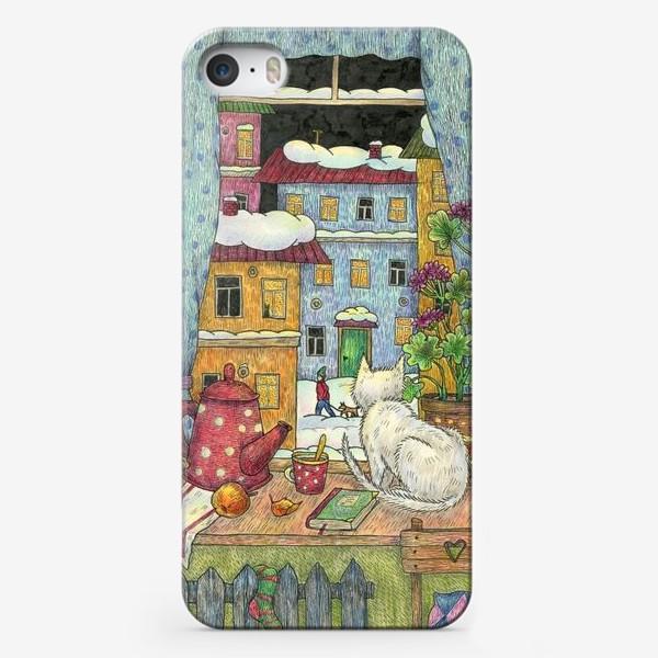 Чехол iPhone «Белый кот у зимнего окна уютным вечером»
