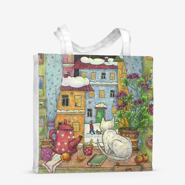 Сумка-шоппер «Белый кот у зимнего окна уютным вечером»