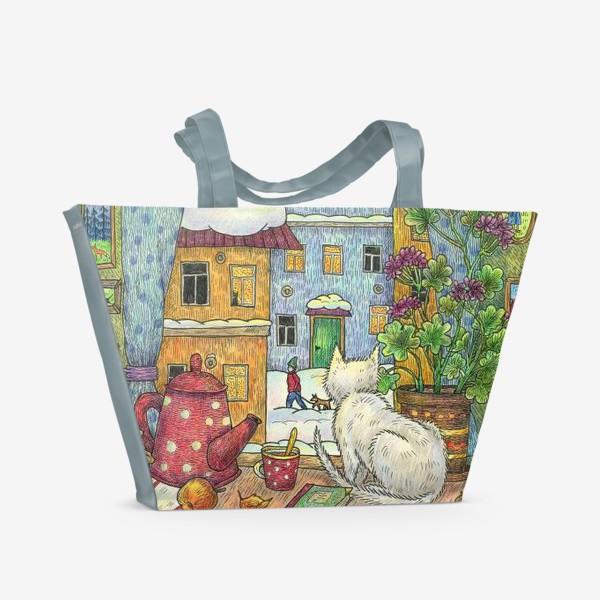 Пляжная сумка «Белый кот у зимнего окна уютным вечером»