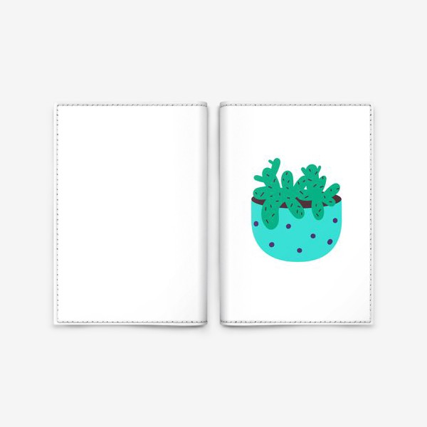 Обложка для паспорта «Милый кактус в голубом горшке в горошек»