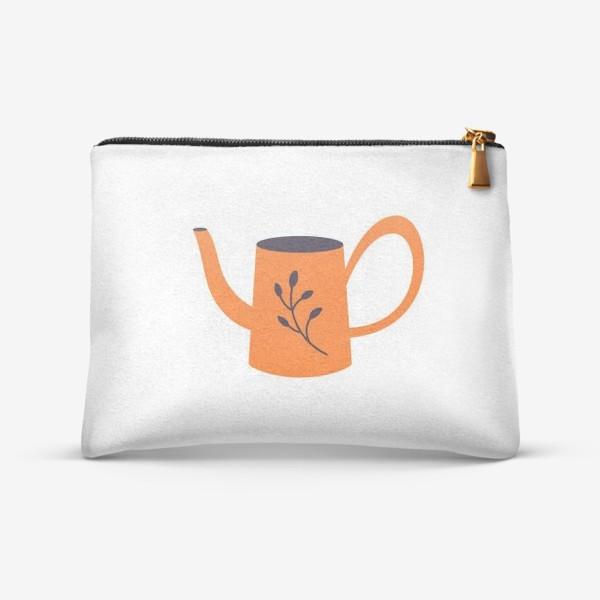 Косметичка «Симпатичная оранжевая лейка. Садоводство, сад, лето»